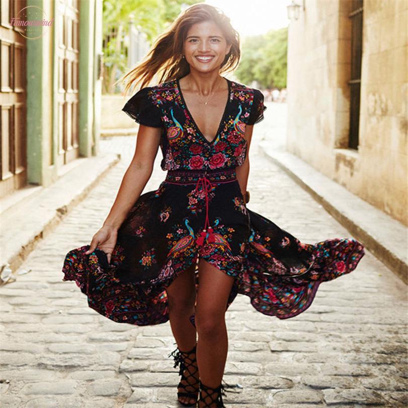 2020 Boho del vestido del verano de las mujeres de los vestidos ocasionales étnico de la impresión atractiva de la borla de la playa vestido de la vendimia vestido de estilo bohemio floral para las mujeres Vestidos