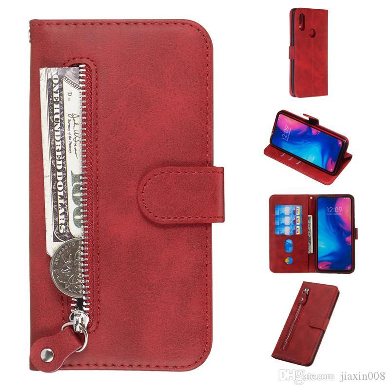 Funda de cuero con cremallera pura para Xiaomi Redmi Note 7 / Redmi Note 7 Pro / Redmi K20 / K20 Pro / Mi 9T Funda Filp Stand Wallet