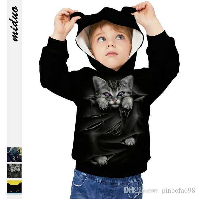 2020 Sonbahar Ve Kış Kedi Dijital Baskı Çocuk Giyim Uzun kollu Kulak Şapka Kazak Gevşek Çocuk Gömlek Toptan 3d