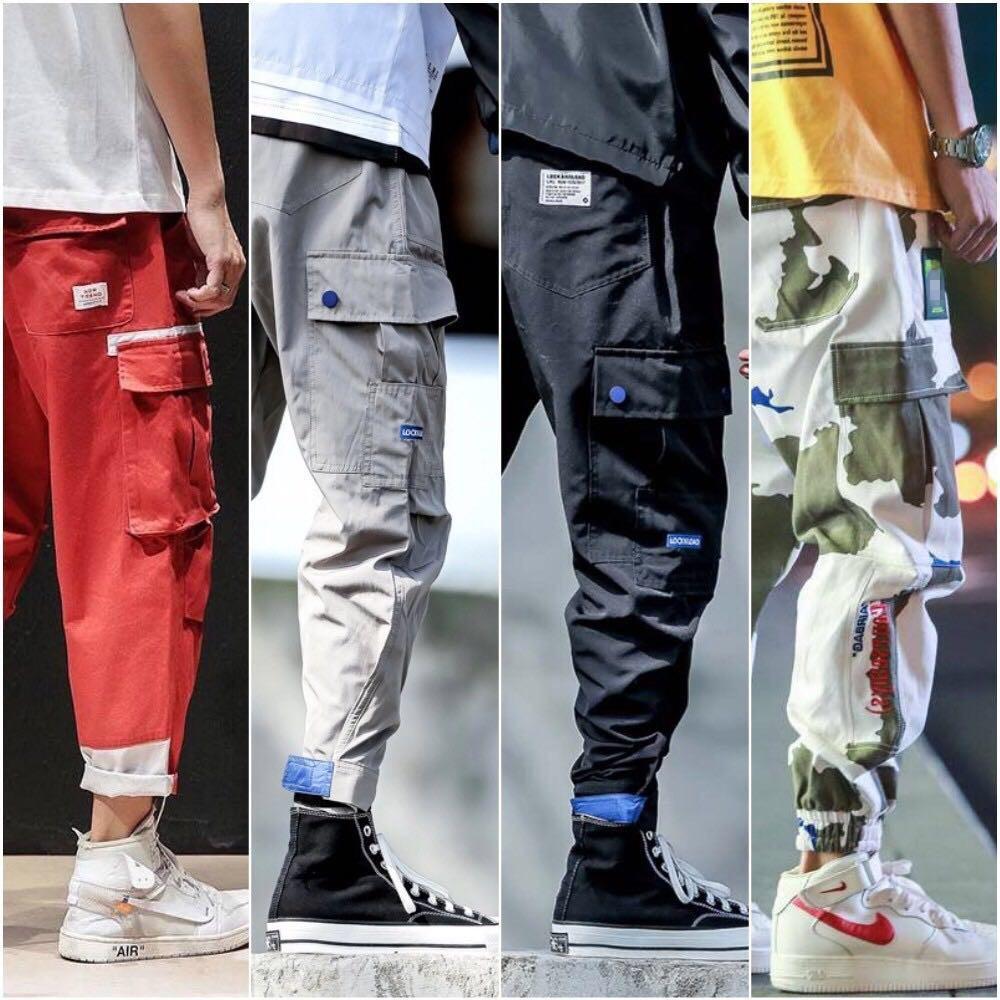 2019 Hombres Multi-bolsillo de los pantalones Harem Hip Streetwear pantalón Hombre Manera masculina ocasional de carga pantalones de los hombres