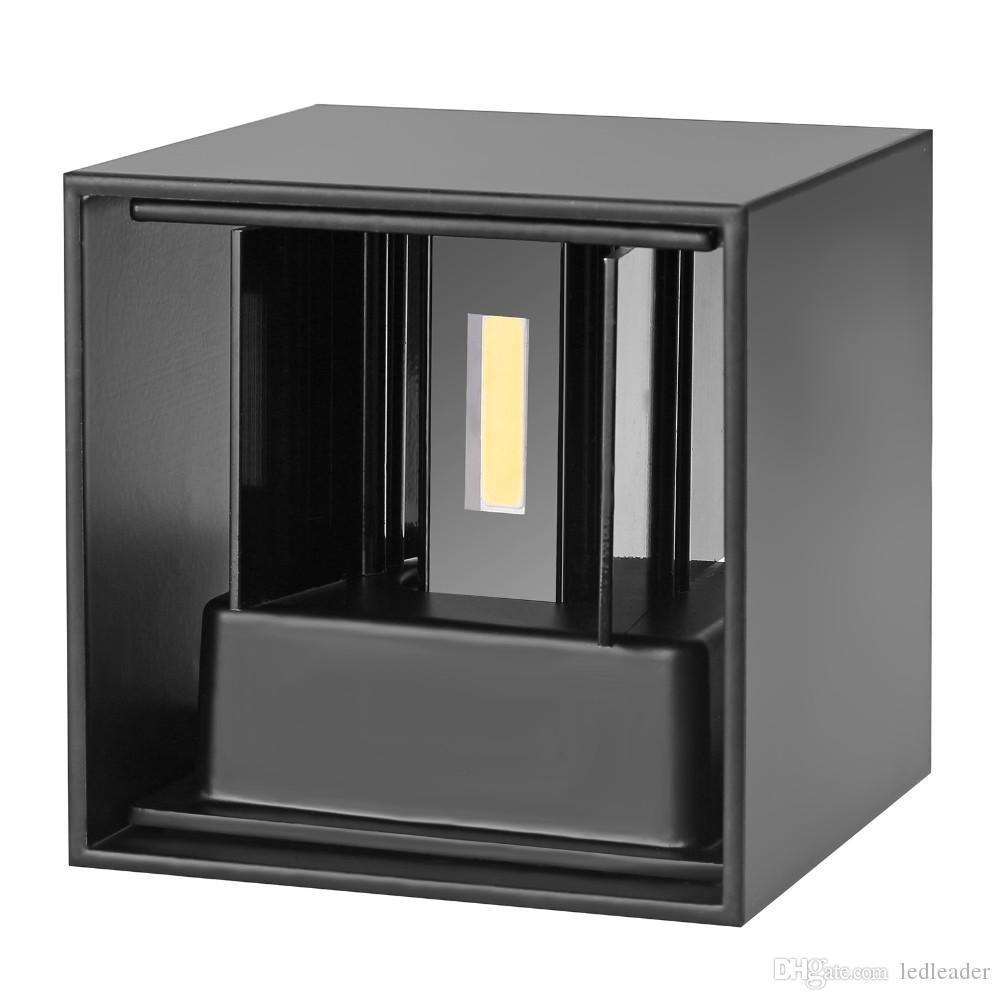 L44 Nuevo ángulo ajustable LED Apliques de pared de aluminio Lámpara de cubo al aire libre montada en superficie Lámpara de pared COB 6W de interior LED Luces de pared arriba abajo