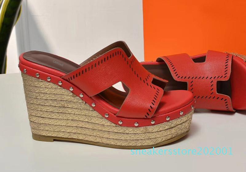 rojas negras zapatillas de color marrón de lujo de moda de las señoras de espesor inferior paja trenzando las sandalias de cuero reales slipsole S01