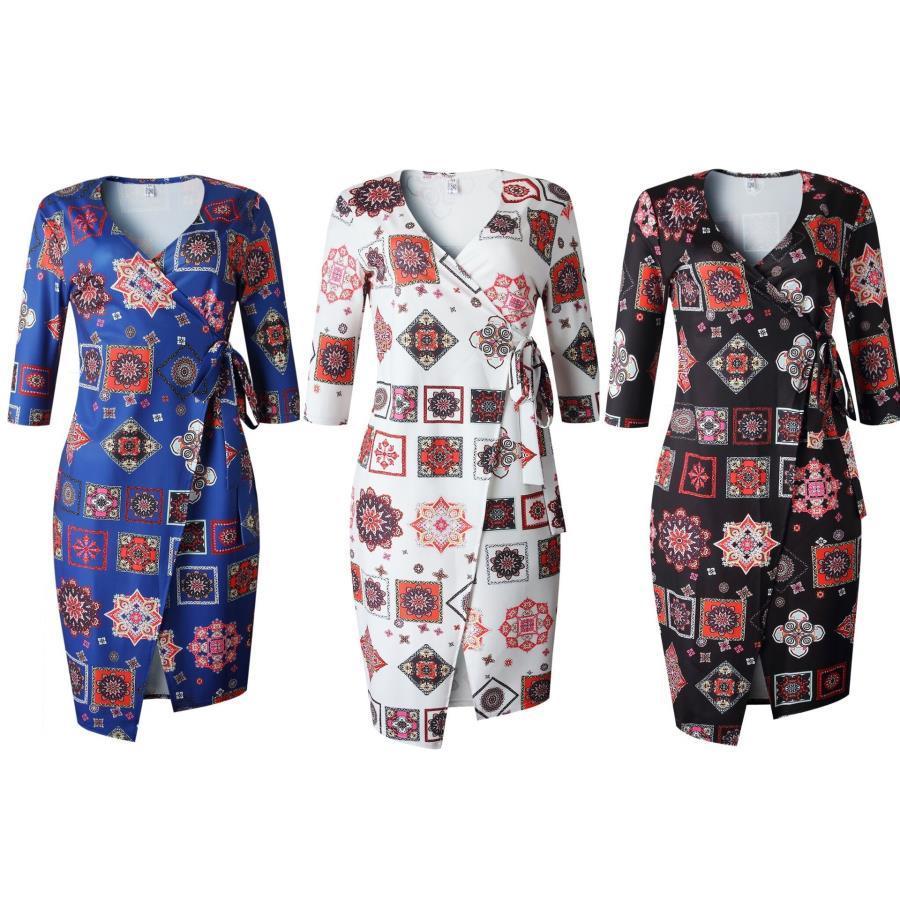 été blanc femmes africaines vêtements griffés Robes Casual robe mode femme Nouveau col Lotus bord feuille V jupe gâteau fleur manches évêque