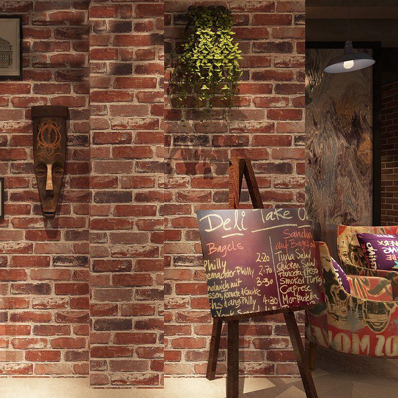 Rustik Eski 3D Sahte Tuğla Duvar Kağıdı Rulo Vinil PVC Retro Endüstriyel Loft Duvar Kağıdı Kırmızı Siyah Gri Sarı Yıkanabilir Ev dekor