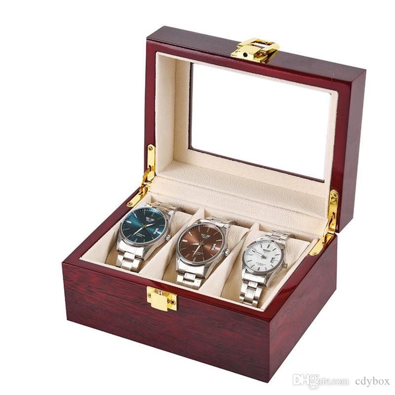 Wooden Glass Topped Watch Box 3 Slot Bright Paint Storage Organizer Display Case Jewelry Box Gift Packaging Box