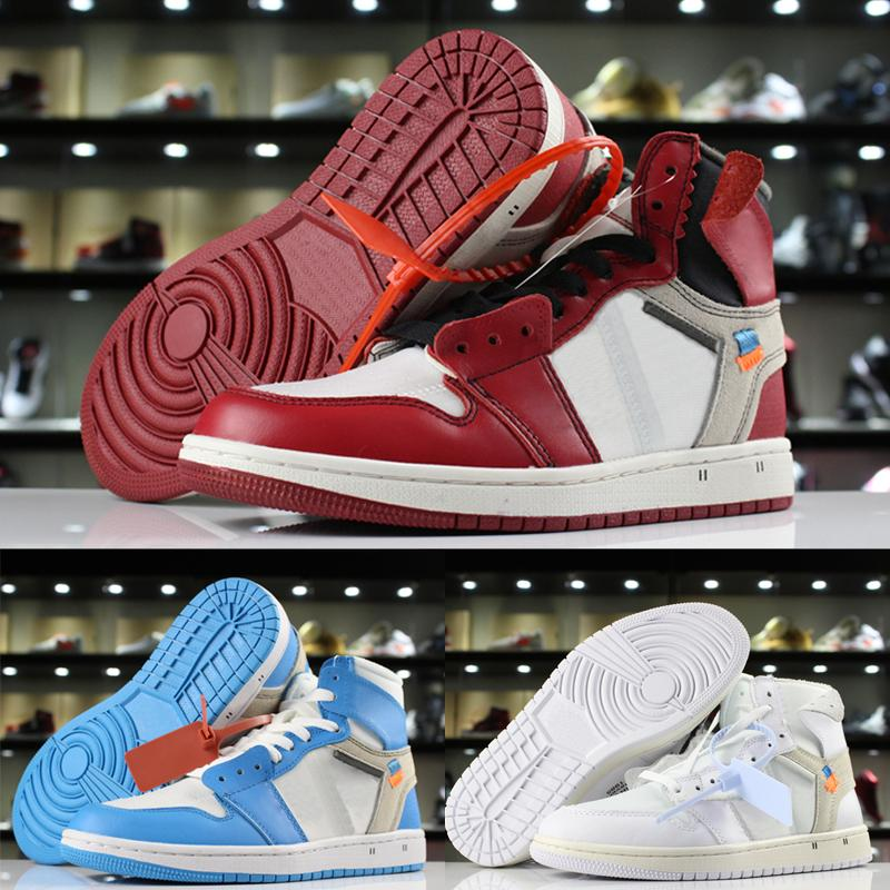 With Box 1 high OG x white Basketball Shoes Mens boys Chicago UNC powder blue white stylist Shoes Sneakers Trainers US 5.5-12