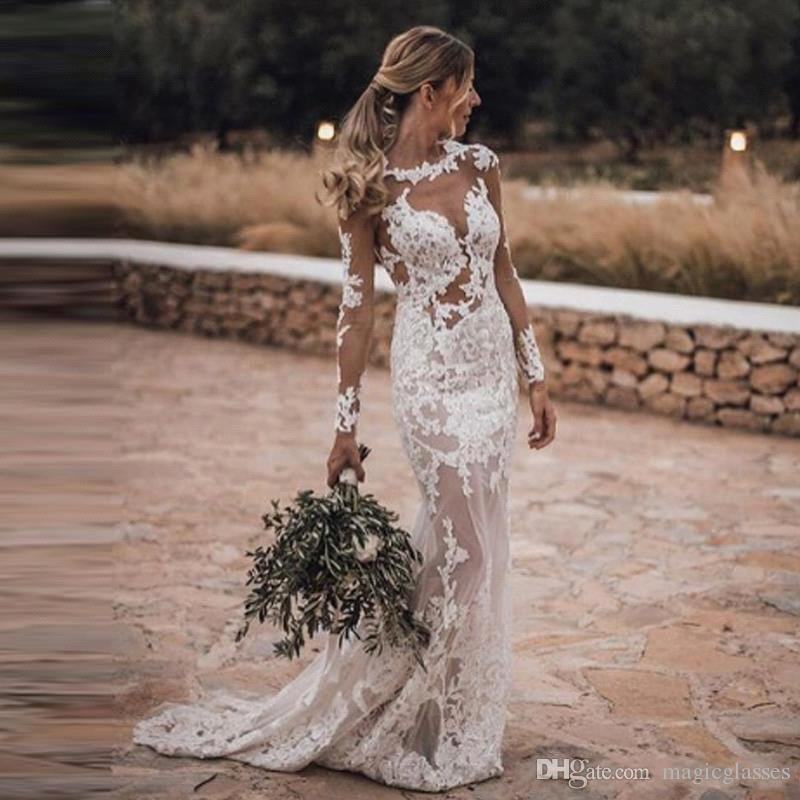 2019 Sheer Long Sleeves Lace Mermaid Wedding Dresses Tulle Applique Backless Sweep Train Arabic Bohemia Wedding Bridal Gowns