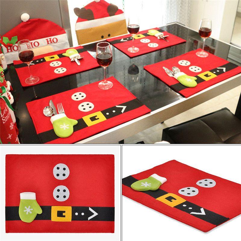 Christmas Santa Anzug Tischset Tischsets Besteckhalter Weihnachtsdekoration für Haus Küche Abendessen Dekor