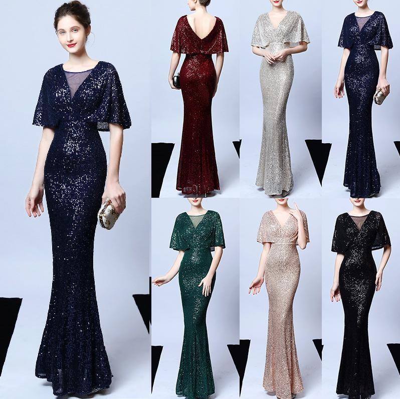 GoldSequined Frauen-Abend-Kleid mit tiefem V-Ausschnitt Sexy Robe De Soiree Aufflackern-Hülsen-Backless Dame-elegante lange Partei-Kleid Vestidos