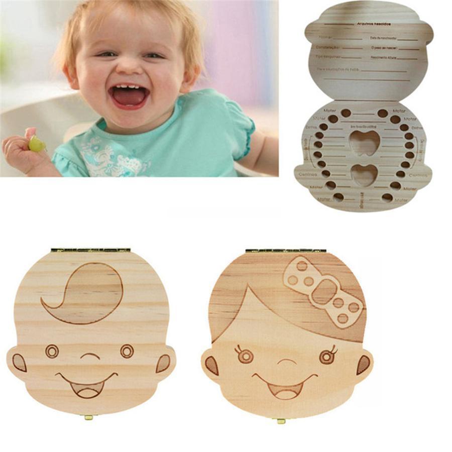 Baby Tooth Box Organizer Save Milk Teeth Wood Boy Girl Kids Storage Case Holder