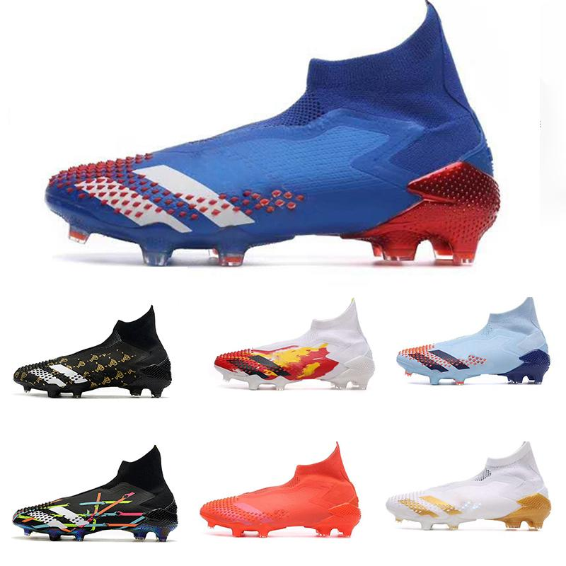 Predator 20+ Uniforia FG di calcio dei capretti di calcio giovanile Stivali Località morsetti di stivali alla caviglia alta dell'ombra Royal Blue Red Tormentor pacchetto Tacchetti