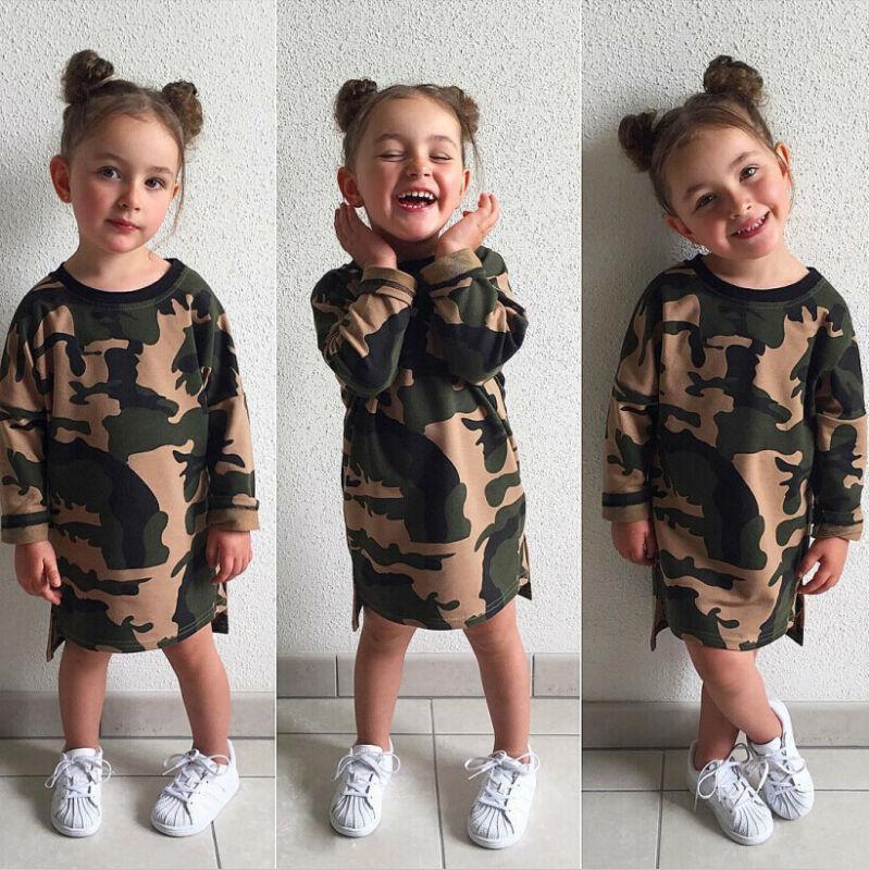 Новый малышей для новорожденных Мода Дети по уходу за детьми ребёнки Камуфляж печати платье Повседневный Длинные партии рукава платье Хлопок Одежда