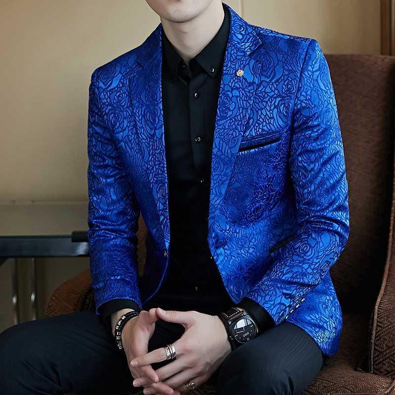 Rose Jaquard Imprimir Casual Brasão Terno do casamento do partido Slim Fit Blazer Royal Black Azul Promo Blazer Para Homens de visitas à moda