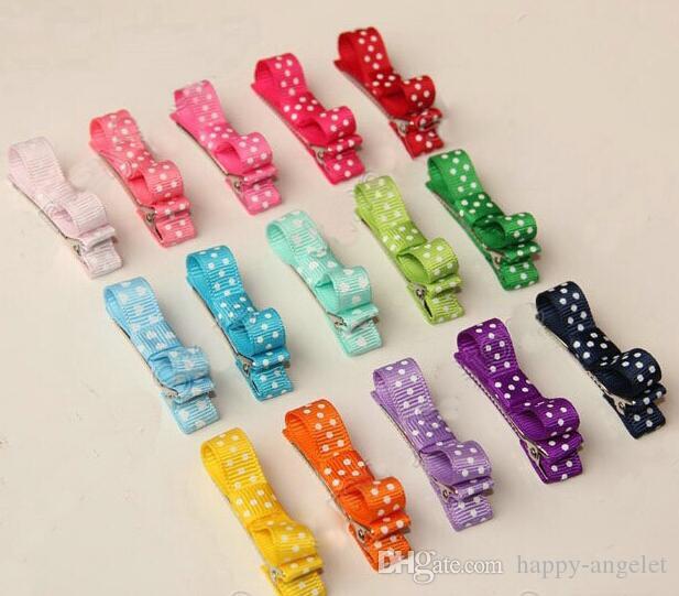 10pcs mini hair accessories bows clips layered polka dot ribbon covered Double Single Prong Duckbill Alligator Hairpins Baby headwear FJ3226