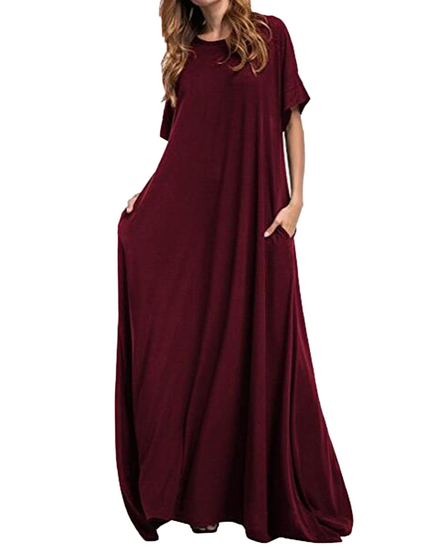 فستان طويل ماكسي zanzea 2019 المرأة نصف كم الصلبة جولة الرقبة خمر عارضة فضفاض طويل أنيق رداء bodycon vestidos زائد الحجم