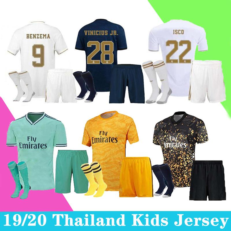 2019 2020 Real Madrid Soccer Jersey RISQUE JOVIC MENDY RODRYGO REAL MADRID Camiseta De enfants Chemise Fútbol kit uniformes de football
