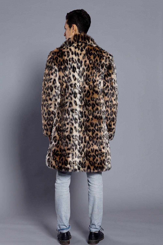 Moda Erkekler Kış Faux Kürk Ceket Baskı Leopar Uzun Kollu Yaka Yaka Kalın Sıcak Moda Adam Ceket Uzun Artı Boyutu 3XL Sıcak Satış