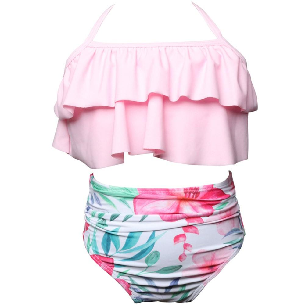 Baby swimwear 2Pcs Toddler baby girl beach Ruffles Swimwear Girls Bathing Suit Bikini Set Outfits Swimsuit Dropshipping