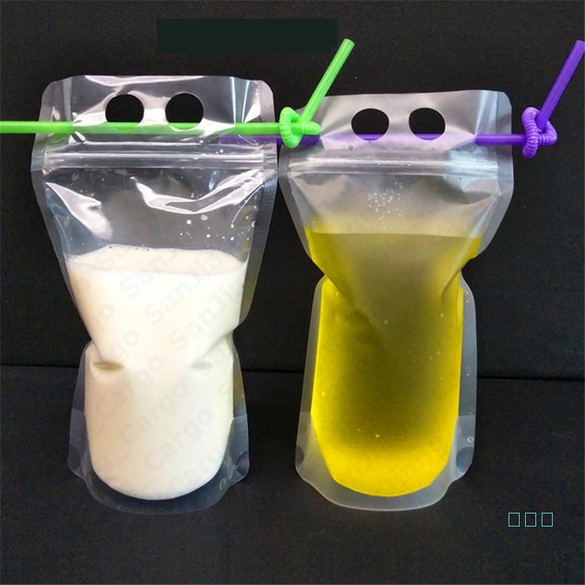 DIY 500ml autoel-sellado bebida transparente jugo de leche Bebidas Bolsa de bolsas con cremallera Portátil Portátil Taza de bebidas con conjunto de paja E5410 ADEX
