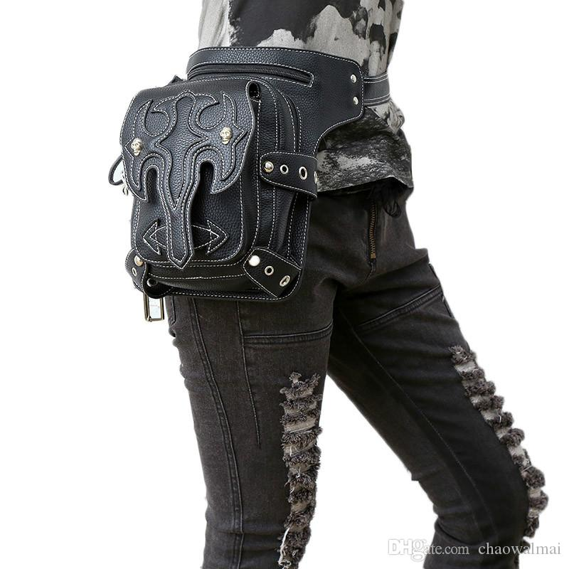 Steampunk Waist Bag Womens Leather Leg Bag Men Gothic Punk Bags Handbag Retro Rock Vintage Mobile Phone Mini Packs Hot Sale