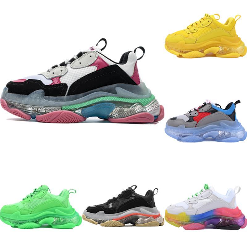 Box 2020 ile Triple-S Deri Mesh Nefes Açık Sneakers Originals Üçlü S Dahili Kristal Zoom Air yükseltmek Ayakkabı