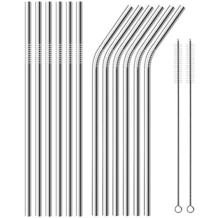 Stainless Steel Metal Straw Reusable Drinking Bent and Strawn Type straws And Cleaner Brush For Home Par Soluments LXL180-1