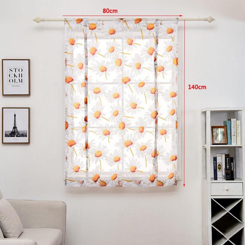 80 * 140 centímetros cortinas Moderna Quarto Sala Tulle Janela Drape Valance Flor Impresso Cortina Curto Sheer Curtains Home Decor DBC DH0899-5