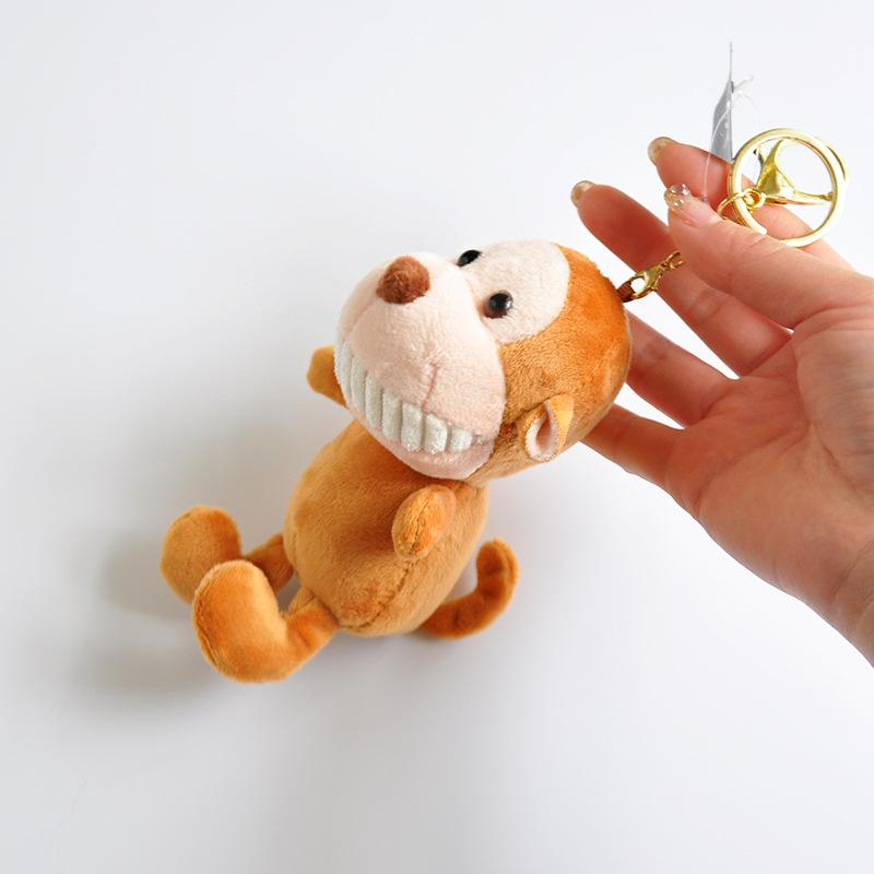 1pcs Boutique 12cm New fragrance made cute Pendant of toothed cow monkey Lion PlushT Plush Keychains toys Girls Bag Car buckle