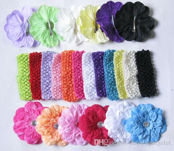 Ragazze Peony Fascia per capelli con Crystal clip morbida fascia del Crochet di Headwrap del fiore del bambino Headwear Accessori 13pcs GZ7425