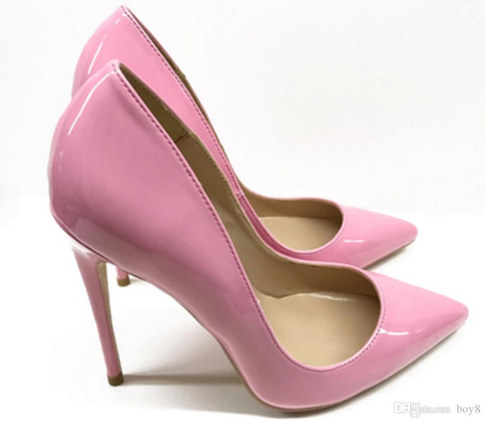 новый стиль розовый красный подошве туфли на высоком каблуке Женская Cusp Fine каблуках мелкой рот Одиночные обувь 8 см 10 см 12 см Большой код 44 свадебный банкет