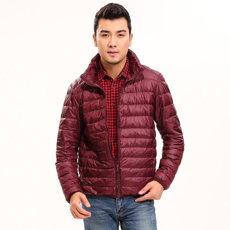 Ceket Coat Men 2019 Sonbahar Ve Kış Yeni İnce Beyaz Ördek Down Jacket Man Kısa Coat Parkas Slim Fit Erkek Giyim ZT330 SH190930 Aşağı