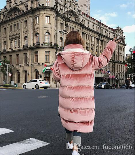 Free postage 2018 winter new golden velvet large size women's down cotton pike female large pocket hooded warm loose casual jacket jacket