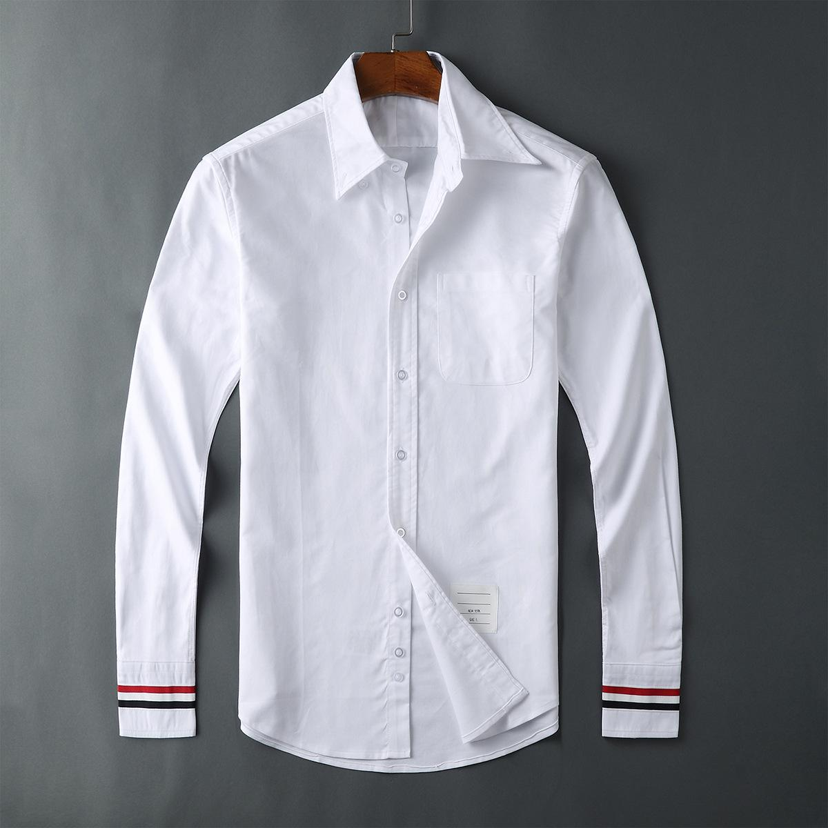 Shirt Casual Lapel Long Sleeve Mens Cotton Shirt White Solid Color Thin Tide