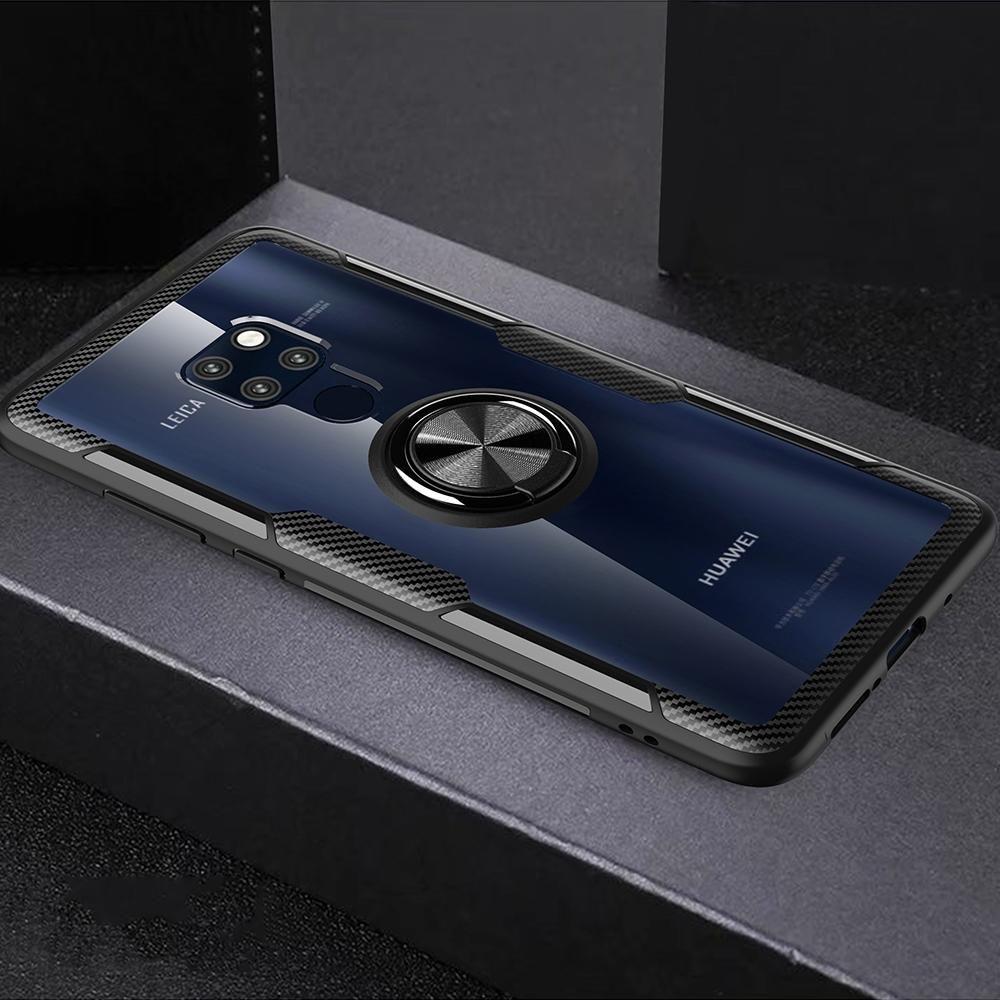 Caja protectora resistente al rayado de TPU + Anillo de acrílico soporte para Huawei mate 20