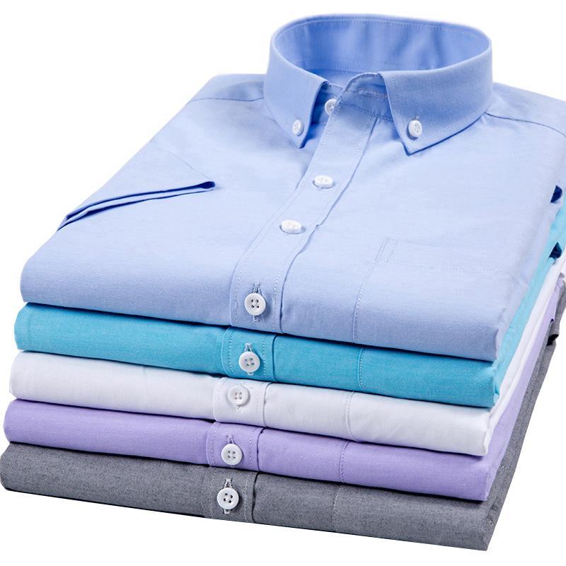 Erkekler Yaz Kısa Kollu Gömlekler için DA JAUNA 2020 Oxford Gömlek Katı Erkek Moda Casual Gömlek Kore Stil Erkekler Bluz
