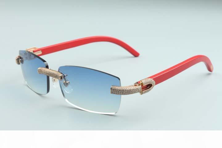 2020 nouvelles de lunettes personnalisés plein de diamants T3524012-20 infini luxe lunettes de soleil jambe en bois rouge arme Diamond Frame