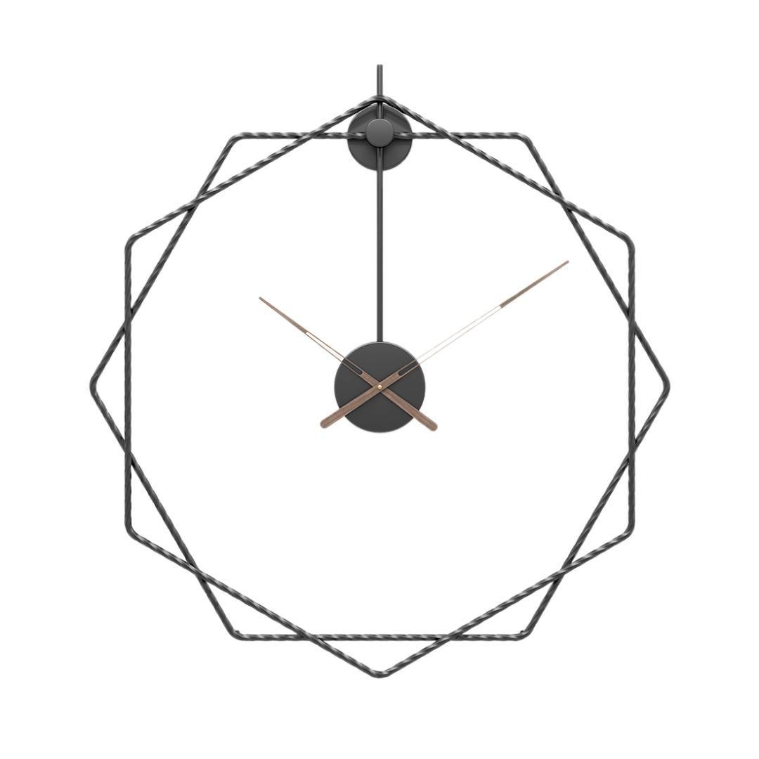 24 Pulgadas 60 cm estilo simple Hierro forjado reloj de pared silencioso Colgante reloj de habitaciones Home Living decoración de la pared Clock- Negro