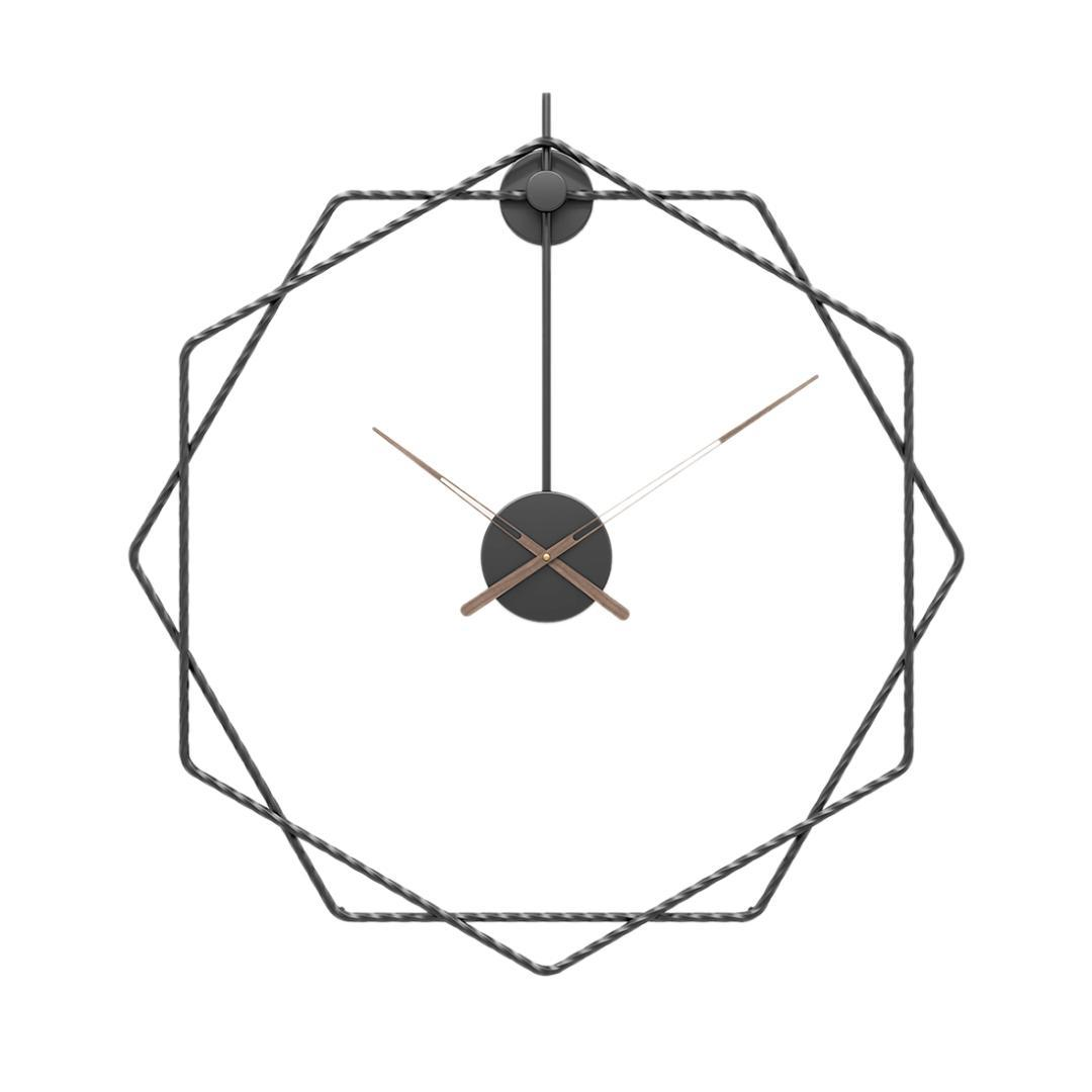 Saat Ana Salon Dekor Duvar Saatçilik Siyah Asma 24 inç 60cm Basit Stil Ferforje Duvar Saati Sessiz