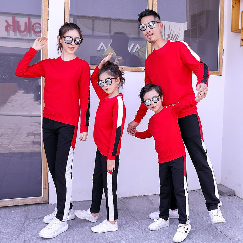 Дизайнерские семейные спортивные костюмы плюс размер с длинным рукавом O образным вырезом пары 2 шт. наборы весна осень повседневные спортивные костюмы