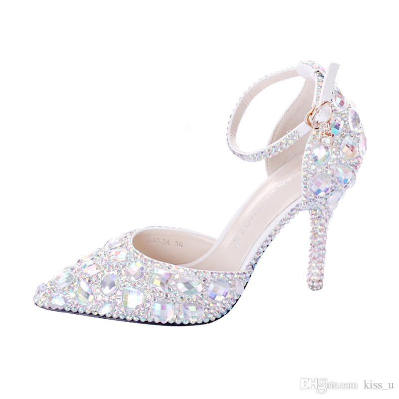 2019 Women White Crystal Shoes With
