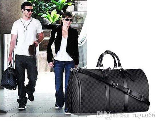 66LVLOUISVUITTONHandtaschen Herren Leder Gepäcktasche Duffle Bag für Frauen-Schulter-Beutel-Taschen-Reisetaschen keepall N413245