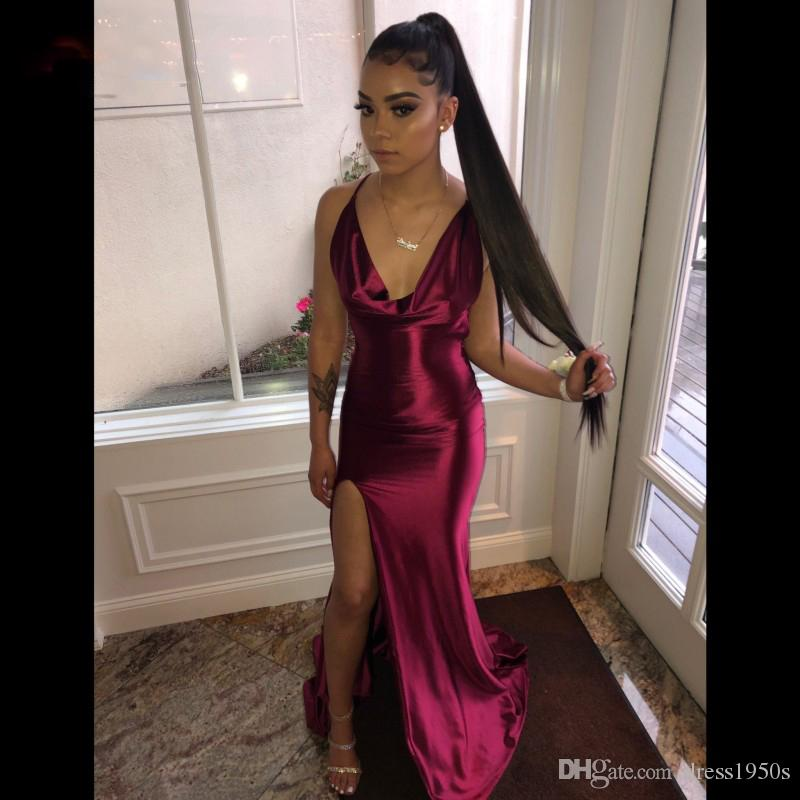 Burgundy Satin Sheath Prom Dresses Long V Neck Back Criss-Cross Sexy Evening Party Gowns Leg Slit Black Girls Prom Gowns
