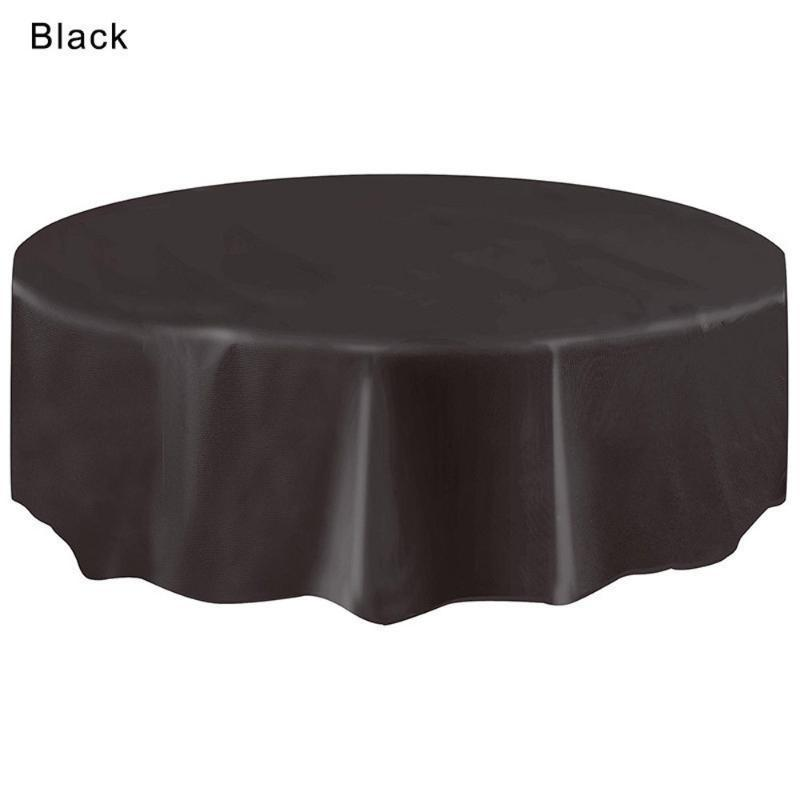 1pcs 2.13M Round plastic Tablecloth Table Cover Solid Color Table Cloth For Christmas Birthday Wedding Party Hotel Decoration 20