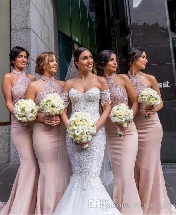 2020 halter del cordón de la sirena modesta de oro rosa de dama de honor vestidos de boda formales de visitantes vestidos de satén de la trompeta por encargo de la dama de honor vestido