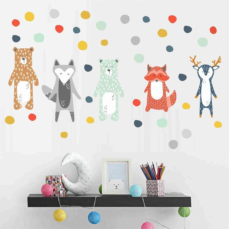 Animal de la historieta pegatinas de pared nórdicos lindo etiquetas para Kid decoración del sitio de oso Fox ciervos pegatinas de pared decorativos