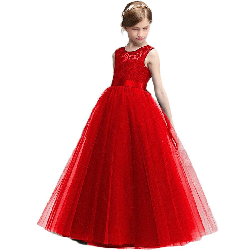 웨딩 파티 정장 볼 가운 (14T)를위한 새로운 공주 레이스 드레스 키즈 꽃 자수 드레스 소녀 빈티지 어린이 드레스