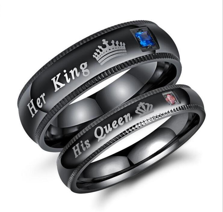 Anillo de par Hombre Mujer Negro / plateado oro de titanio de acero inoxidable Su rey sus anillos Queen Set para amantes de la joyería