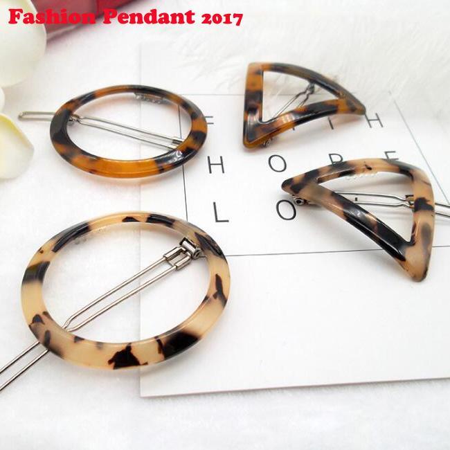 2019 kadın Moda Saç Aksesuarla Geometrik Üçgen Mürekkep Leopar Firkete Saç Klipler Saç Aksesuarları ücretsiz kargo
