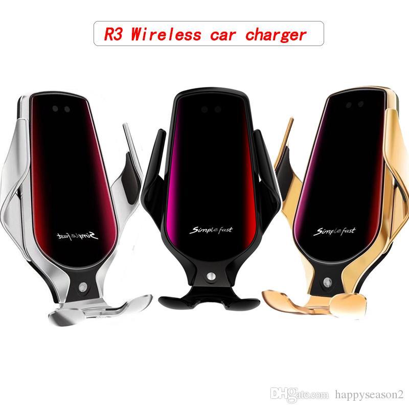 R3 Smart Wireless Автомобильное зарядное устройство Vent Инфракрасный индукционные держатель телефона 10Вт быстрой зарядки Зажим для Samsung Huawei