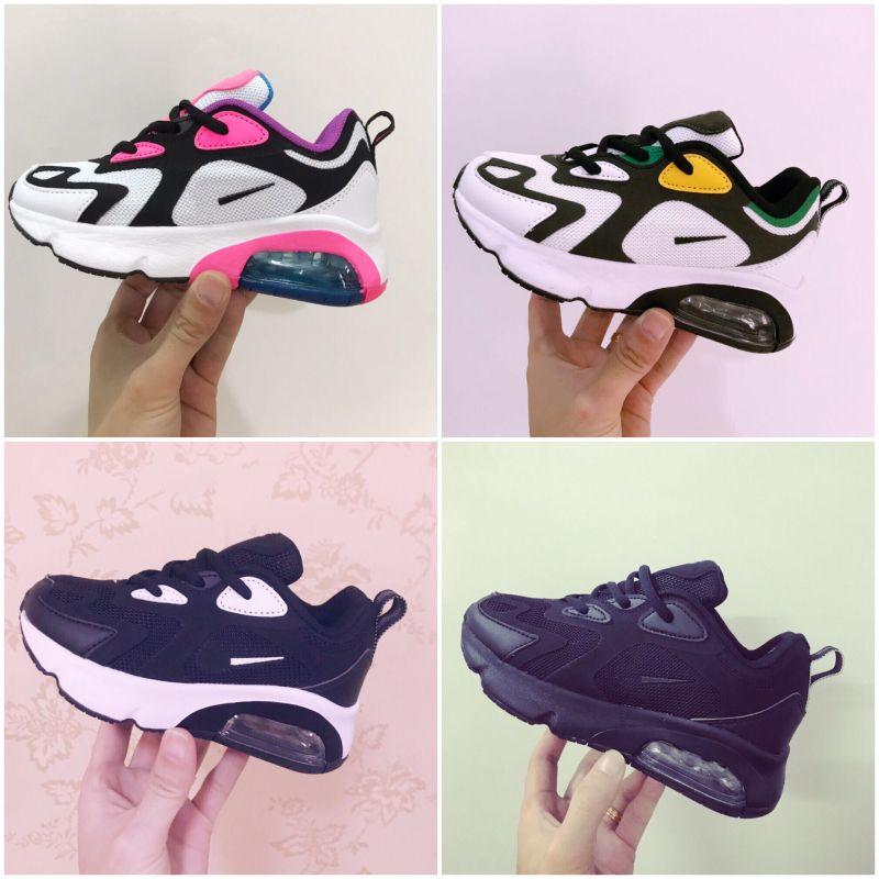 Nike Air Max 200 Chaussures 2019 Enfants Enfants Chaussures de basket-loup gris pour enfant en bas âge Baskets garçon bébé fille taille enfant 28-35